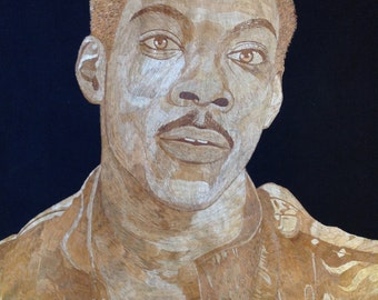 Eddie Murphy portrait handmade with rice straw (Dried leaves of rice plant )  very unique ancient leaf art. Only one made  museum collection