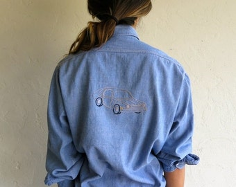 30% off SPRING SALE Vintage 70s Embroidered Chambray Shirt
