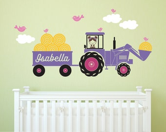 Tractor Girl Wall Decal: Personalized Name Hay Wagon Farm Theme Baby Nursery