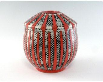 Etched Porcelain Vase With Stripes