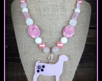 """Glass Boer Show Goat Pendant With Gemstone/Glass Beaded Necklace Approx 18"""""""