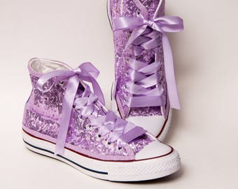 Tiny Sequin - Starlight Lilac Purple Over White Converse Hi Top Canvas Sneaker Shoes with Satin Ribbon Laces