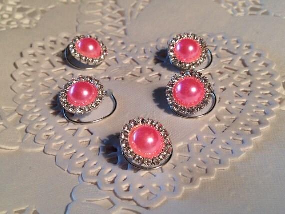 Hair Jewels Rhinestones and Pink Pearls Bridesmaids Hair Swirls Spins Spirals Prom Coils Wedding Hair