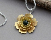 Green jade brass gold flower pendant necklace sterling silver genuine natural stone nature jewelry unique unusal artisan gift for her