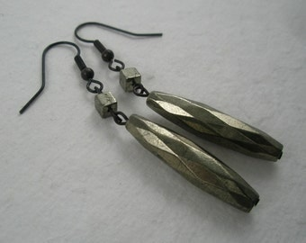 Faceted Pyrite on Black Brass Earrings