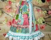 SALE SALE - Girl's Dress 5/6 Floral Patch Squares, Aqua, Pink Cream Pillowcase Dress, Pillow Case Dress, Sundress