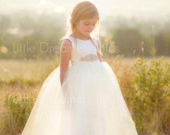 NEW! The Juliet Dress in Ivory with Rhinestone Sash - Flower Girl Tutu Dress