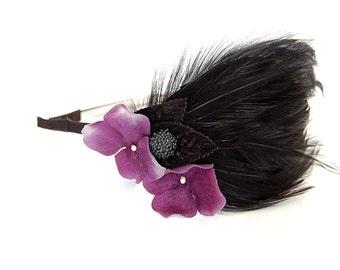 Retro Chic Goth Dark purple Hydrangea, feathers and blackberry pad headband