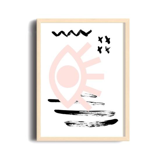 MAUVAIS OEIL 006 // Abstract art, 12x18, minimalist art print, geometric print, Scandinavian style, nordic design, pink, eye