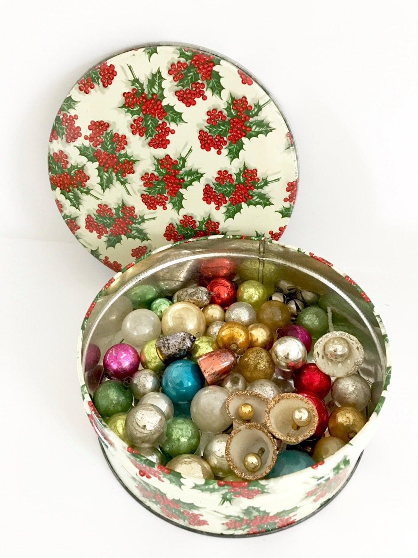Vintage Tin Christmas Tree Ornaments : Vintage christmas tree ornaments mercury glass holly round tin