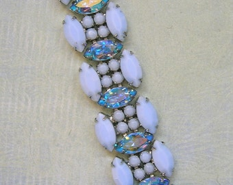 Vintage Weiss Bracelet With Aurora Borealis, Old Weiss Bracelet, Costume Jewelry (#2850)