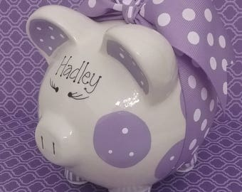 Purple Piggy Bank - Personalized