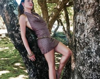 Aurora Dress with Amazonia  - Dusty Rose and Gold