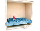 kinetic sailboat art, boat automaton, small wooden box, nautical decor, beach art, ocean decor, man cave decor
