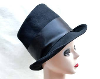 Vintage Top Hat / Vintage Black Wool Felt Top Hat / Mad Hatter Top Hat / Steam Punk Top Hat / Tall Black Top Hat / Costume Top Hat