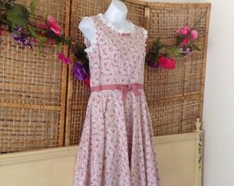 Vintage 50's 60's Pink Rose Cotton Day Dress Eyelet Lace Ribbon Trim Full Skirt Unworn
