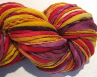 Super Bulky Handspun Yarn Turn Up The Heat 70 yards hand dyed wool gold red yarn burgundy yarn knitting supplies crochet supplies