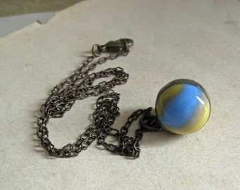 Marble Pendant Soldered Jewelry Blue Yellow