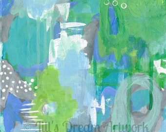 Green and Blue Abstract Art, Contemporary Modern Art Print, 8x8 Print, Wall Decor, Interior Design, Messy Drippy Painting, Abstract Print