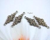 Art Nouveau Style Flower Floral Leaves Antique Brass Ox Connectors - 6