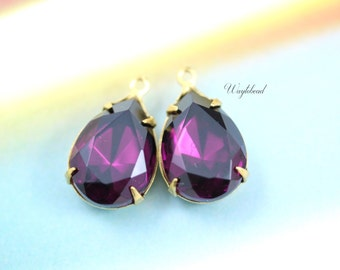 Amethyst 15x11mm Vintage Pear Shaped Set Stones Rhinestone Teardrop Closed Back Prong Settings - 2