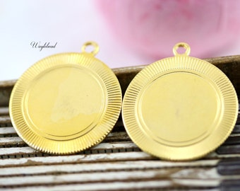 27mm Vintage Gold Toned Metal Tags with Grooved Pattern on Edge - 2 .