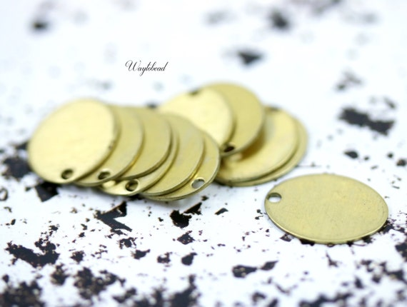 Oval Charm Stampings Raw Brass - 10