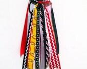 Girls red white and blue softball streamer bow ponytail holder