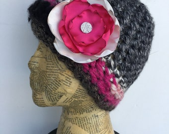 Crocheted Beanie Hat in Bright Pink, Cream, Black, and Varigated Grey with Removable Flower Pin