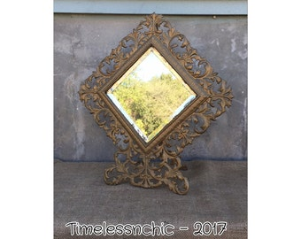 Vanity Mirror - Beveled Mirror - Decorative Mirror - Vintage Mirror - Antique Mirror - Easel Back Mirror - Gold Mirror - Diamond Mirror
