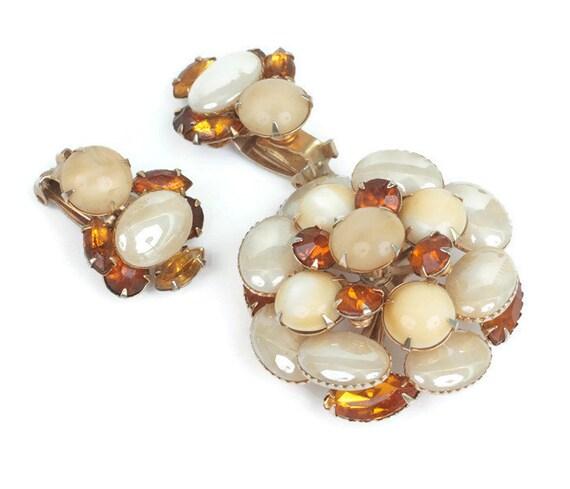 Topaz Givre Stone Brooch Earrings Set Iridescent Beads Vintage