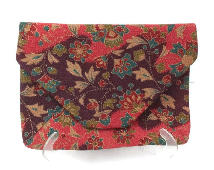Asian Envelope Clutch Handbag Red Floral Print Vintage