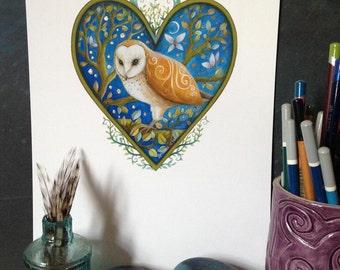 Heart art print. 'Guardian of the Night',  by Amanda Clark. Heart art, owl painting, wildlife art, valentines, wall art