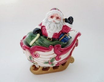 Vintage Santa Claus Sleigh Salt and Pepper Shaker - Fitz and Floyd Kris Kringle Sleigh Nesting Shakers - 1993 Made in Taiwan