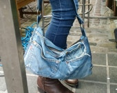 recycled denim bag, denim bag, denim and leather bag, jeans bag, hobo bag, jeans bag, manbag, recycled leather bag, upcycled, levis, jeans