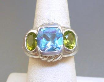 Judith Ripka Blue Topaz Peridot Ring