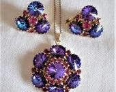 sale 15% Esquisite Rivoli Pendant Necklace Earrings Blue Purple Red Gold Tassel Vintage