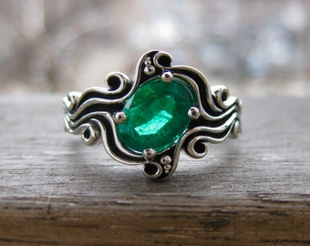 Green Emerald Engagement Ring in 14K White Gold in Ocean Sea Surf Themed Setting with Black Waves Size 6