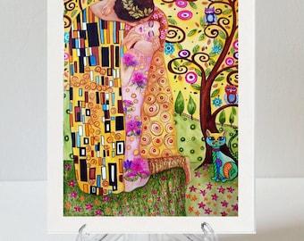 Art Print, Framed Print, Klimt Print, Gustav Klimt, The Kiss, The Kiss Print, Art Deco Print, White Frame