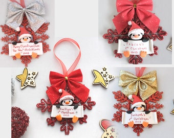 Personalized baby's first Christmas ornament - Penguin, owl or bunny - gift for mum to be expecting grandfathers children newborn kid