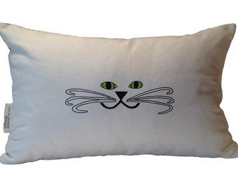 Kitty Face Pillow- Cat Pillow- Cat Face Pillow- Cat Face Lumbar Pillow- by beckyzimmdesign