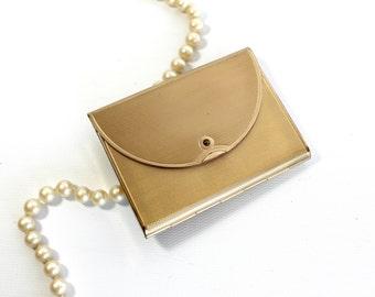 Vintage Coty Compact Mirror Powder Makeup Brass Envelope Shape