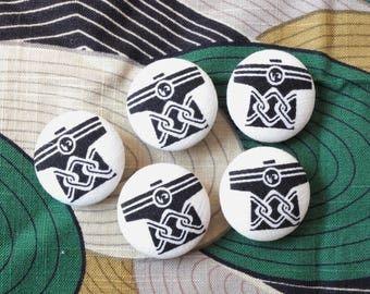 Zen Style Geometry Traditional Japanese Black and White Kimono Clothes-Handmade Fabric Covered Buttons(0.87 Inches, 5PCS)