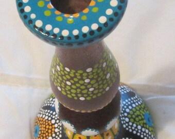 Upcycled vintage walnut wood candle holder hand painted Aboriginal dots redo