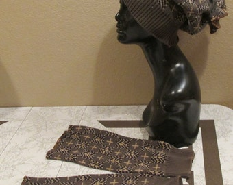upcycled vintage sweater slouchy hat matching boot toppers leg warmers olive black