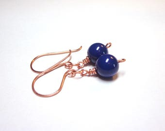 Cobalt Blue Pearl Earrings, Swarovski Blue Crystal Pearl Earrings, Copper Blue Earrings, Silver Copper Earrings