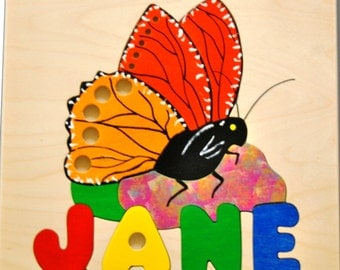 Monarch Butterfly and Name puzzle - Instill an appreciation for nature in your toddler. Hand crafted. May be hung for Nursery decor.