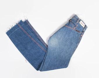 Vintage 70s High Waist JEANS / 1970s Dark Blue Denim Buckleback Fitted High Waisted Jeans XXS - XS