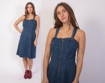 Vintage 70s DENIM DRESS / 1970s Sleeveless OVERALLS Jean Jumper Dress S