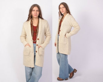 Vintage 70s CARDIGAN / 1970s Long Ivory Wool Cardi Sweater